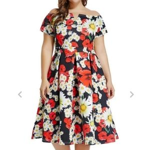 Lalagen Floral On Off Shoulder Dress XL